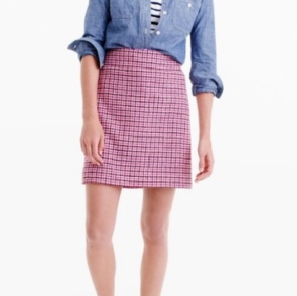 J.Crew Pink Wool Houndstooth Mini Skirt